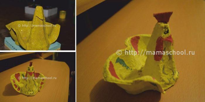 Поделки из яичных ячеек своими руками мастер класс для детей
