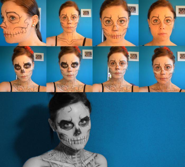 Грим скелета на лице