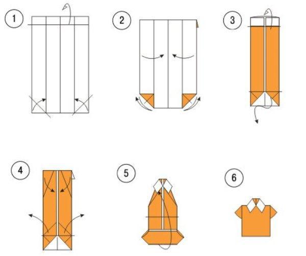 Как сложить рубашку из бумаги и сделать открытку