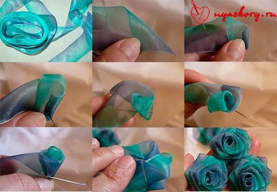 Как сделать цветы из атласных лент  мастер класс видео