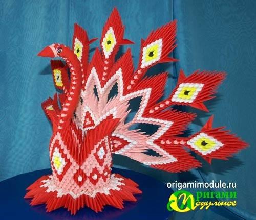Поделки павлина модульное оригами 85