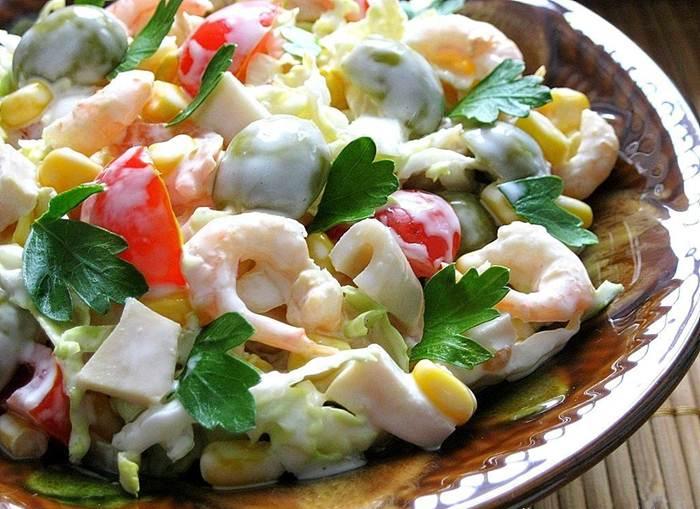 салаты из креветки рецепты простые