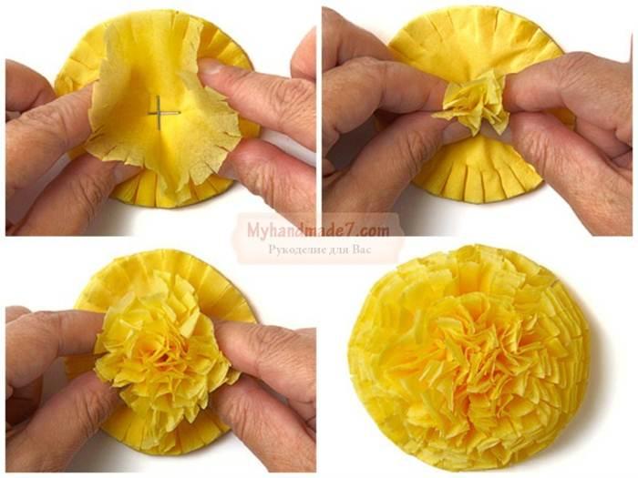 Как сделать цветы из салфеток поэтапно