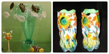 Ваза из пластиковых бутылок пошаговое