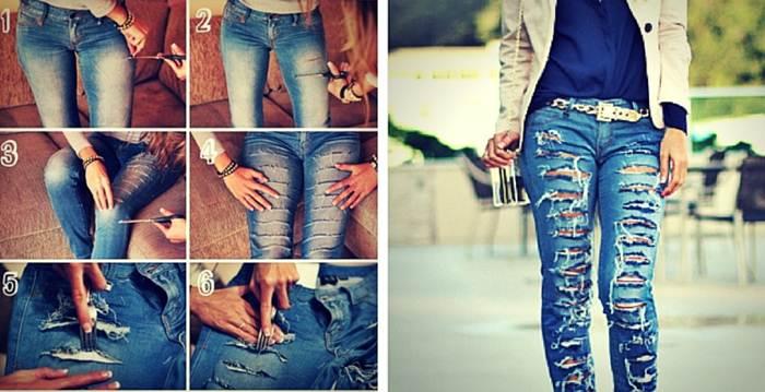 Как из обычных джинс сделать модную 154