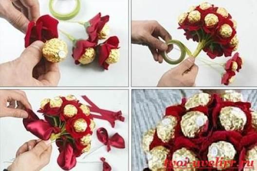 Как сделать вкусный букет из конфет своими руками 13