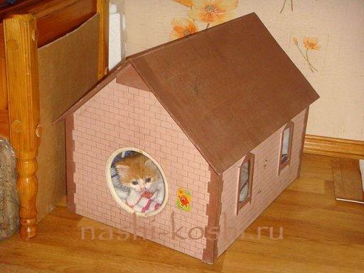 Домик для котенка своими руками из коробки
