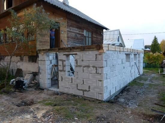 Пристройка к дому из блоков своими руками видео
