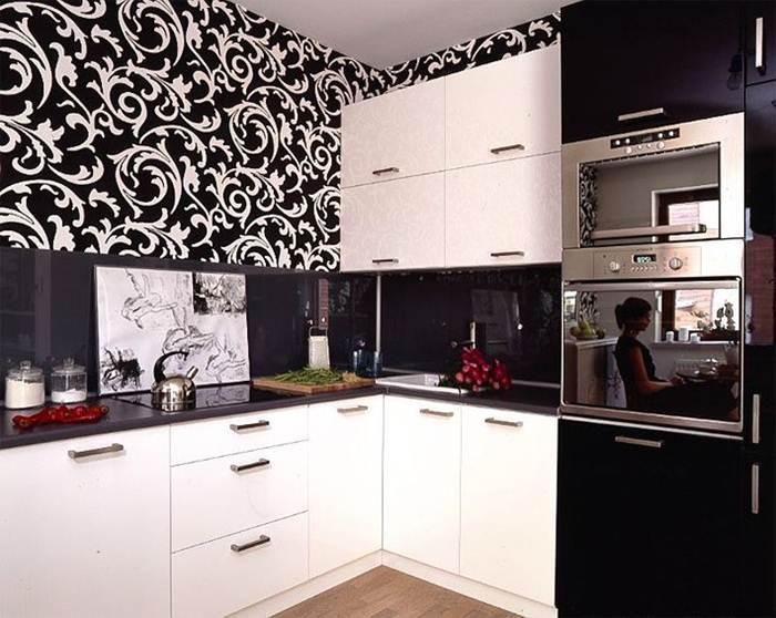 Обои на кухню черно белый гарнитур