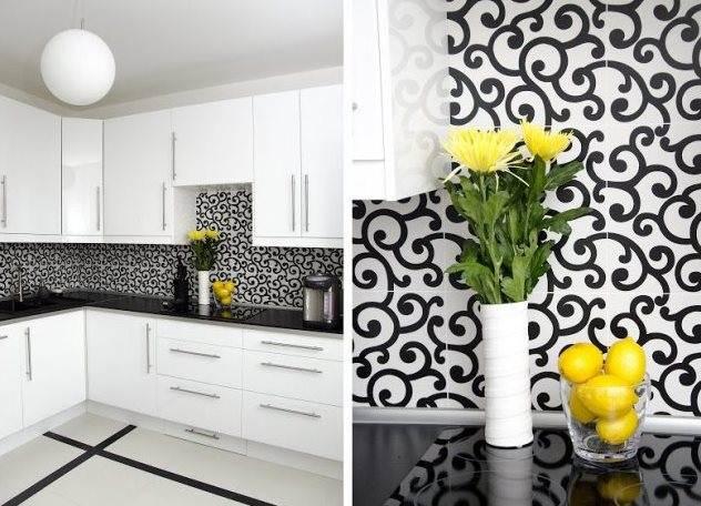 Дизайн кухни с белыми обоями 200