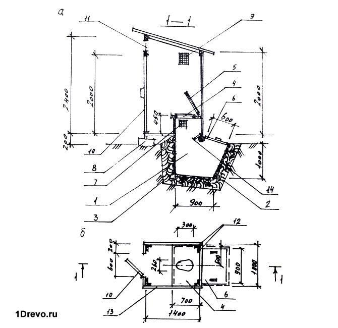 Уличный туалет из кирпича своими руками подробный чертеж с размерами 1