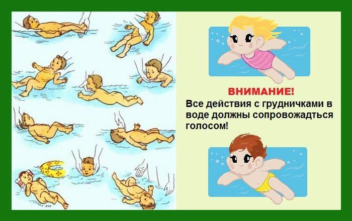 Упражнения в ванной для грудничков